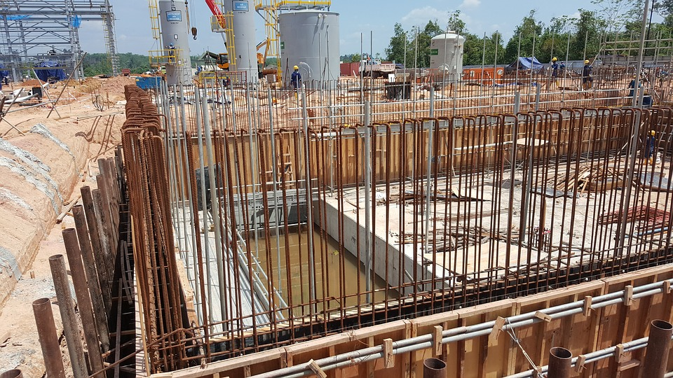 concrete slab with rebars